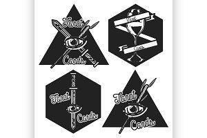 Vintage taro cards emblems