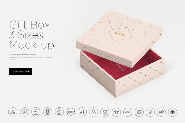 Gift Box 3 Sizes Mock-up
