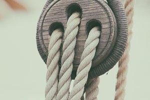 Ropes and blocks on a sailboat
