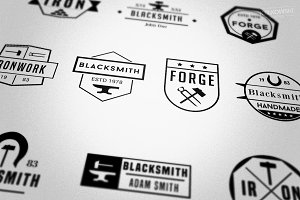Blacksmith Forge Badges Logos