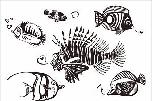Exotic fish silhouettes, vector