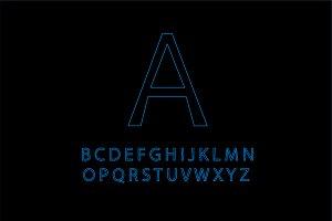 Neon blue outline font