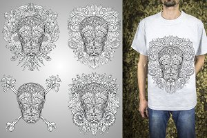 Sugar skulls set, vector