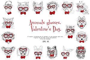 Animals in glasses with tie. Hearts.