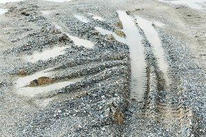 Wheel or tyre tracks