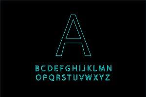 Neon blue font outline vector