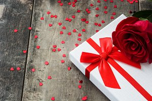 Gift box and red roses