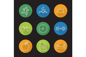 Healthy lifestyle. 9 icons. Vector