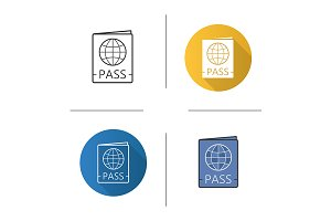 International passport icons. Vector