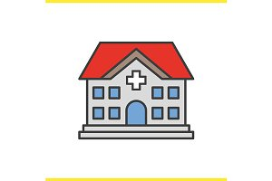 Hospital color icon. Vector