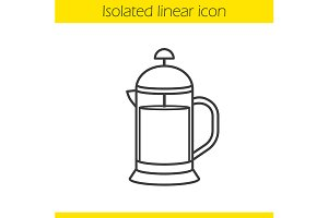French press icon. Vector