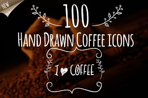 Hand Drawn Coffe Elements With Love