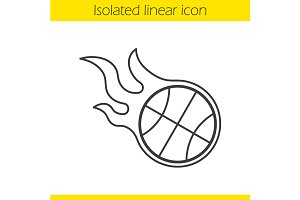 Burning basketball ball icon. Vector