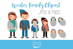 Family Clipart with Winter Clothing