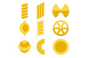 Different Types of Pasta Icons Set