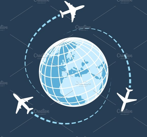 around traveling globe transport travel travelling icon air global airplane creativemarket creative