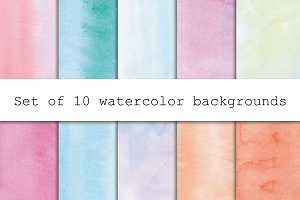 Set of light watercolor backgrounds