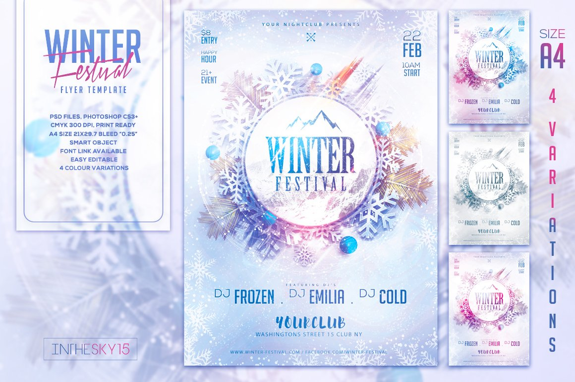 winter festival flyer template flyer templates on creative market