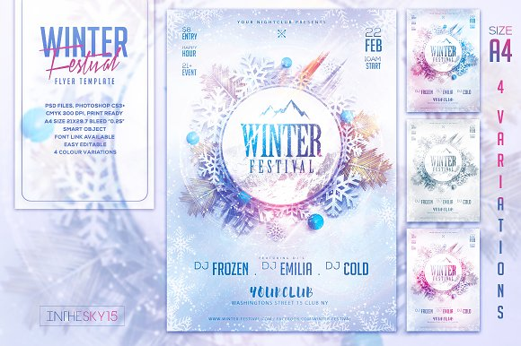 Winter Festival Flyer Template Flyer Templates on Creative Market – Winter Flyer Template