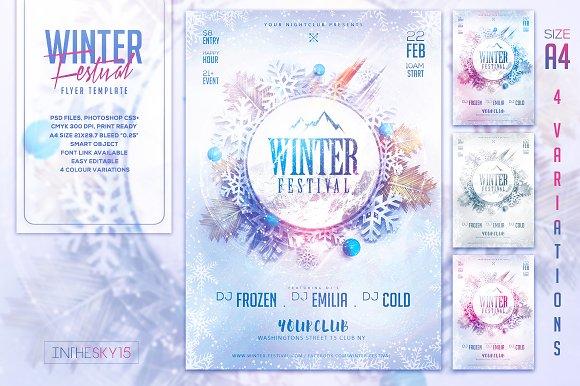 winter festival flyer template flyer templates creative market