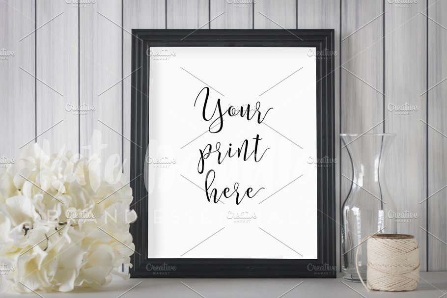 Black Frame Mockup And White Flowers Photos Creative Market