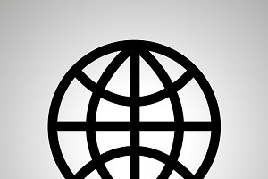 World globe simple black icon