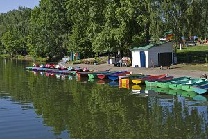 Rental boats at the city pond.