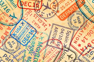 Travel visa rubber stamps imprints