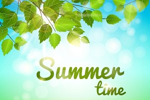 Summertime background with leaves