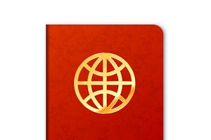 Realistic foreign passport icon