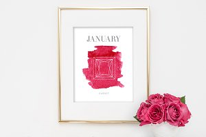 January Garnet Birthstone Print