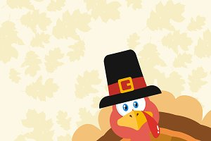 Pilgrim Turkey Bird Flat Design