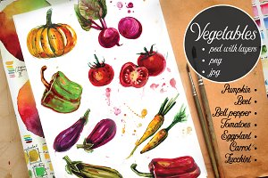 Watercolor Vegetables_2