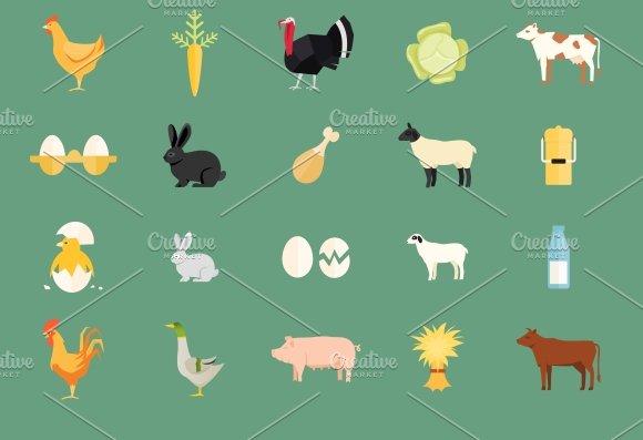 farm animals and produce ~ Icons ~ Creative Market