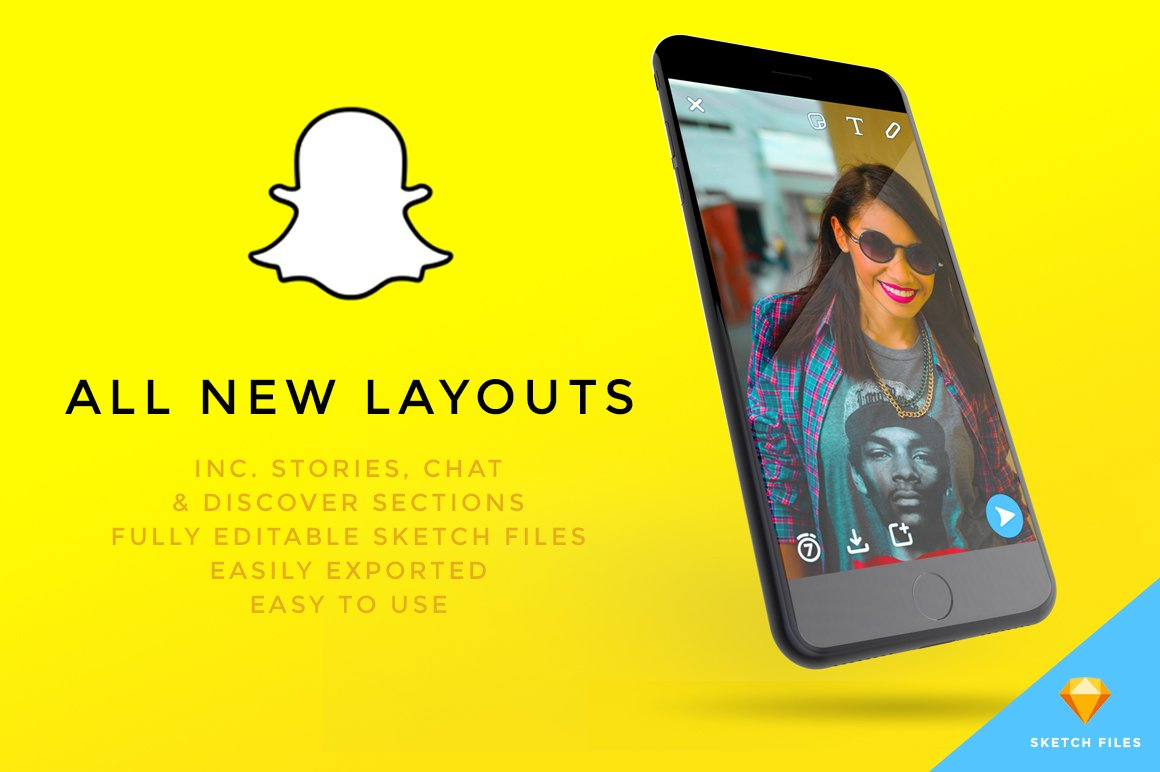 new snapchat ui kit inc stories web elements creative market. Black Bedroom Furniture Sets. Home Design Ideas