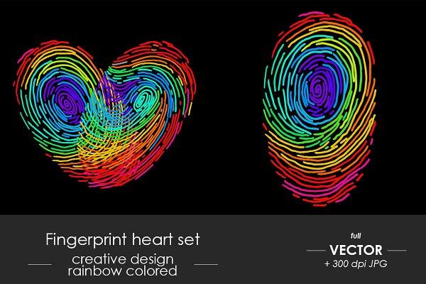 Rainbow heart fingerprint set