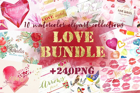 Love watercolor bundle. Val-Graphicriver中文最全的素材分享平台