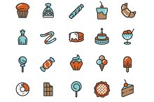 Candy, desserts, sweets icons