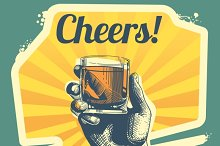 Hand with drink glass retro poster