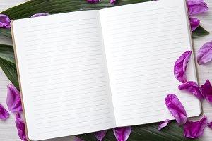 Floral Notebook Desktop Styled Stock