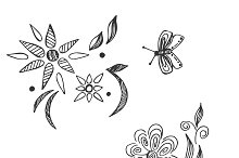 flowers, decor, bee, sketch style