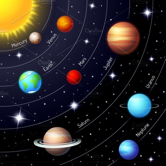 Solar system illustrations creative market sciox Choice Image