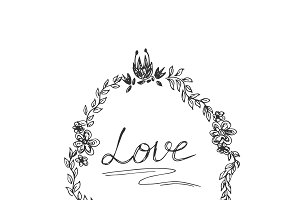 hand drawings wreath with love text
