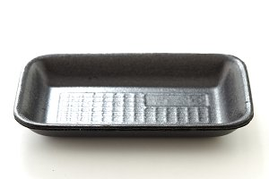 black foam food container