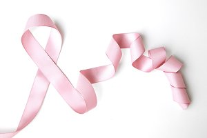 pink ribbon border with curls