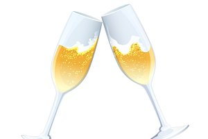 flutes of golden bubbly champagne