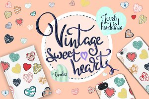 Vintage sweet vector hearts