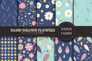 Hand-drawn flower digital paper