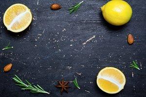 Lemons, food background