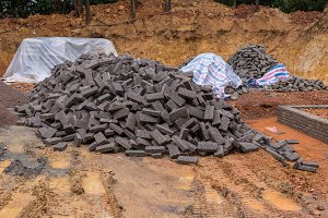 black clay bricks for building
